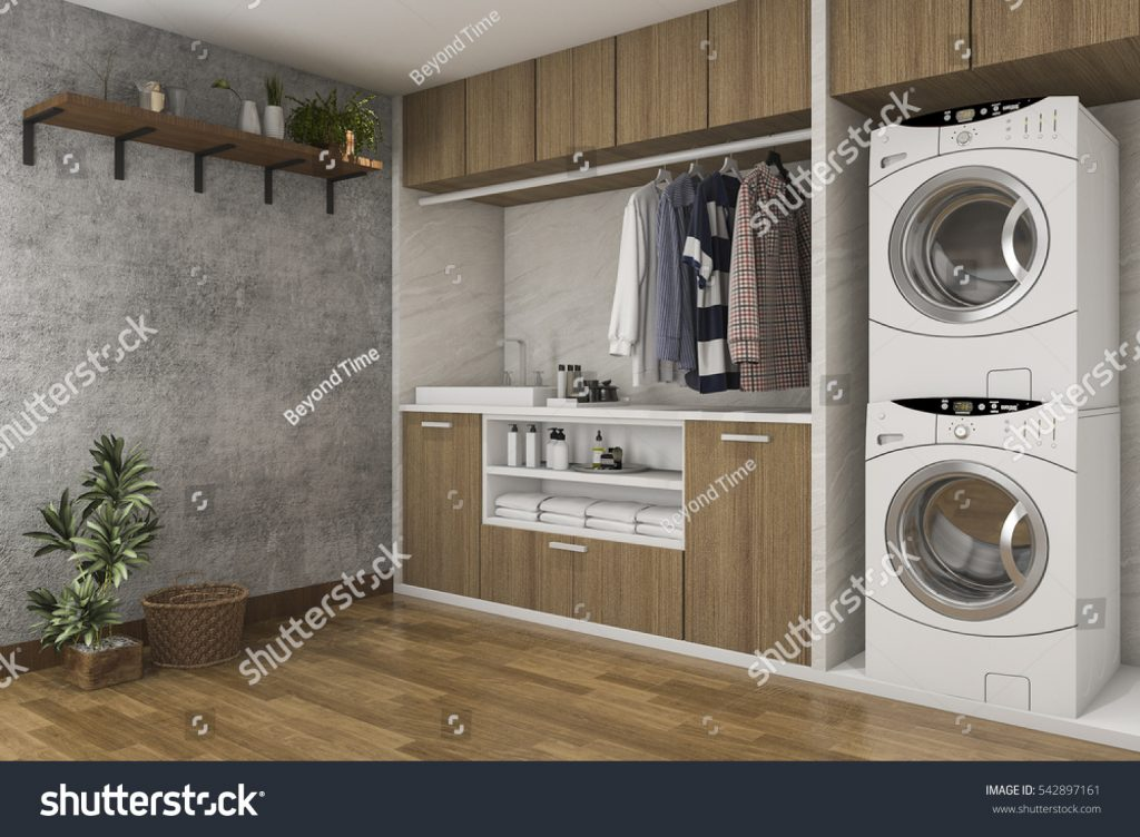 stock-photo–d-rendering-wood-laundry-room-with-concrete-wall-542897161